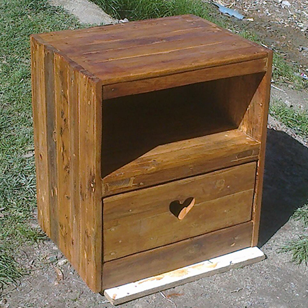 ... pallet bedside table. BELOW: Here is her completed bedside table
