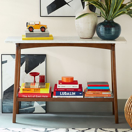 mid century reproduction diy console table with shelf