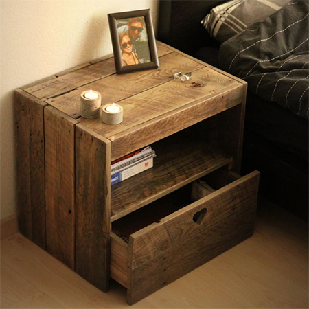 reclaimed wood bedside cabinet with drawers