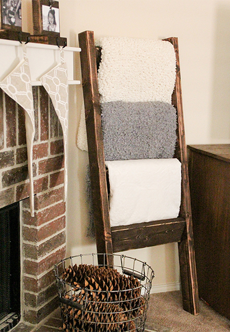 reclaimed timber wood ladder towel rack for bathroom