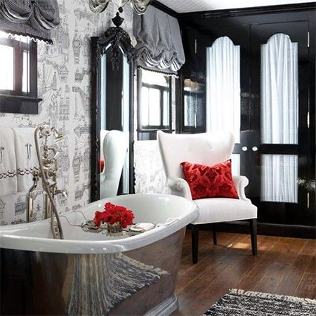 add romance to interior design living spaces black white red bathroom