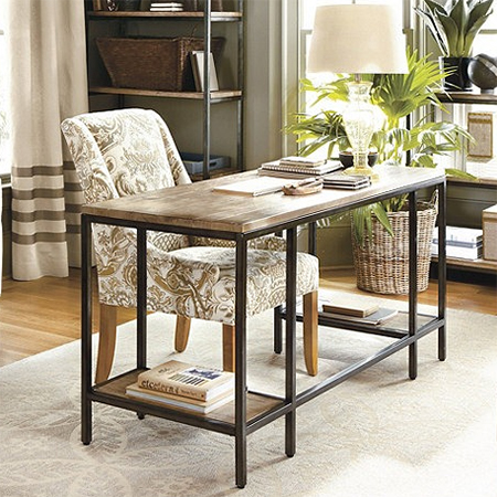 steel frame desk with wood top for diy home office ideas