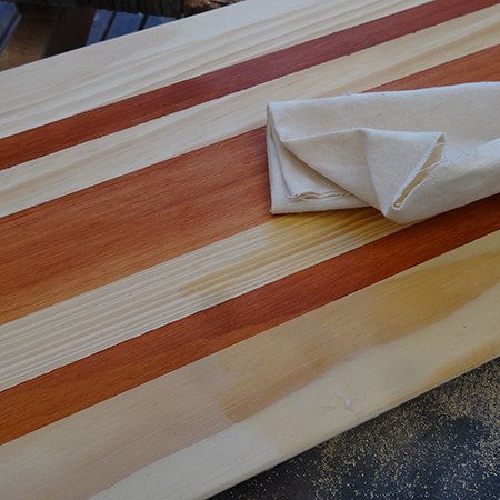 how to make a table board applying antique wax