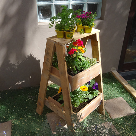 herb plant stand reclaimed wood timber pallet