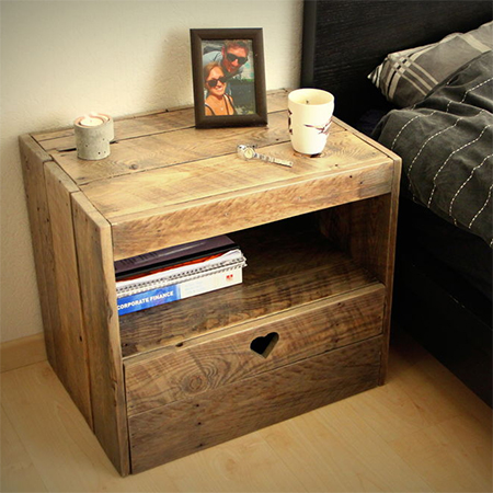 Home dzine craft ideas bedside cabinet using reclaimed wood - Petite table de nuit ...