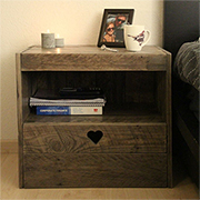 Reclaimed wood bedside cabinet