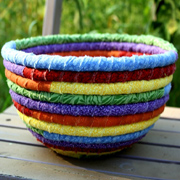 Colourful rope rag bowl