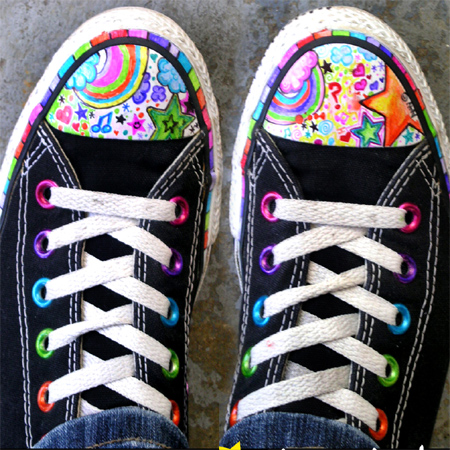 Fabric markers = Colourful takkies shoes