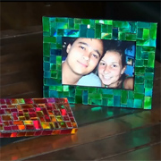 Mosaic frame with recycled CDs