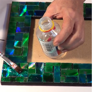 recycle cds into mosaic picture frames