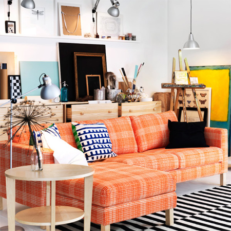Hone up your upholstery skills and grab your sewing machine... colourful slipcovers and cushions are a feature