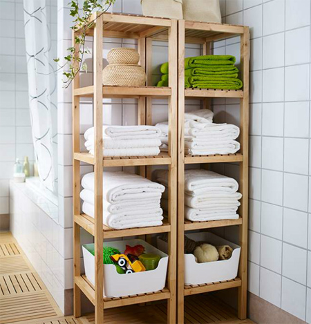 Wood Pine Reclaimed Timber Bathroom Storage Shelves