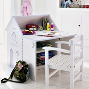 DIY house-shaped desk for little girl