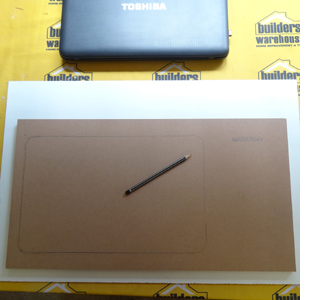 DIY laptop stand or laptop lap tray use laptop as template