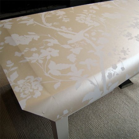 coffee table wallpaper and upholstery nails