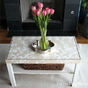 Makeover coffee table with wallpaper