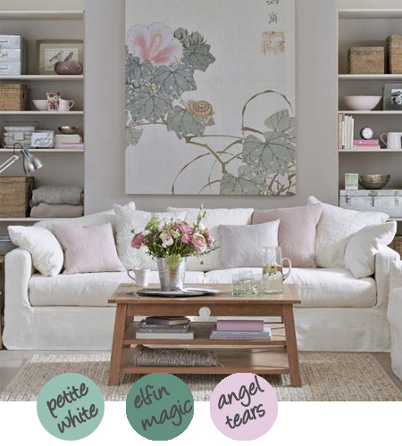 Decorate with shades of grey, pink and white or grey, green and white