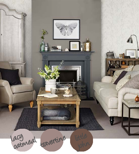 Home dzine decorate with shades of grey for Neutral feature wall colours