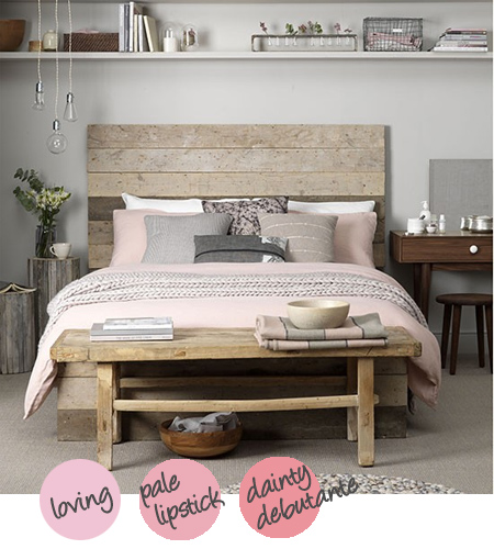 Decorate with shades of grey and soft pink with reclaimed wood furniture