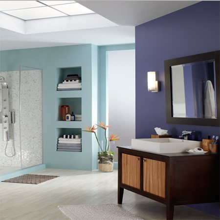 Be Bold With Colour And Create A Contemporary Bathroom Light Blue Purple Walls