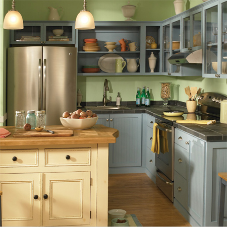 This Rustic Cottage Kitchen Has Pale Blue Cabinets That Mix It Up With Cream And
