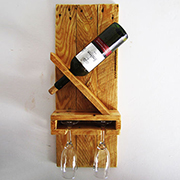 Reclaimed wood wine rack for two!