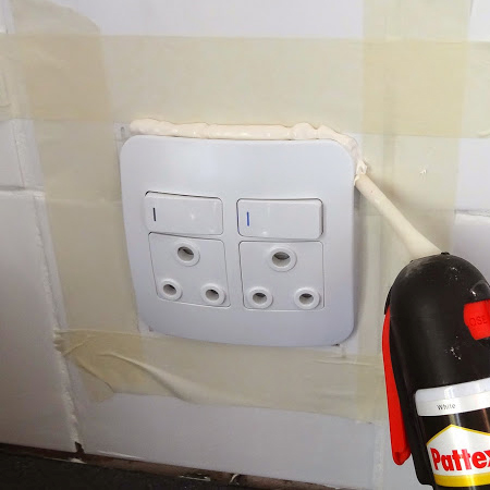 use silicone sealer to cover up around power plug socket outlet