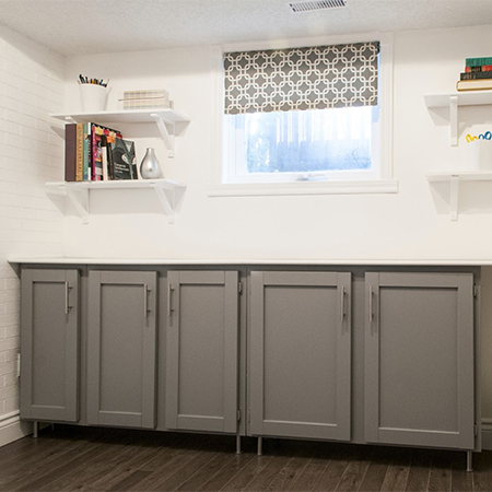 diy modern studio or home office using reclaimed salvaged cabinets or cupboards
