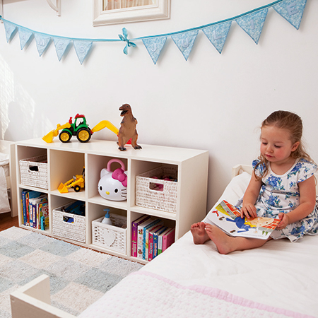 DIY storage unit for children's bedroom