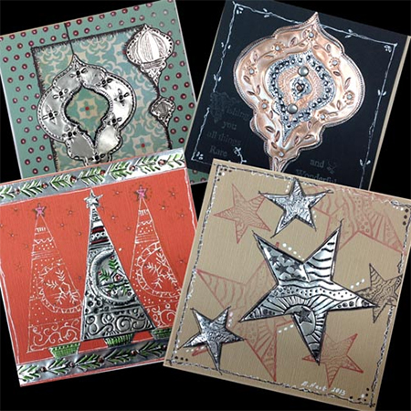 use recycled aluminium aluminum tins cans to embellish greeting cards