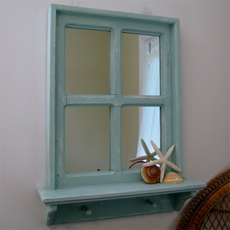 Reclaimed Vintage Old Window Frame Display Shelf