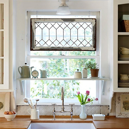 reclaimed salvage old window frame decoration kitchen