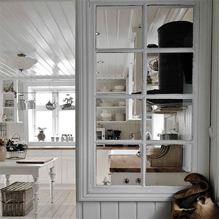 reclaimed salvaged window frame as room wall divider kitchen