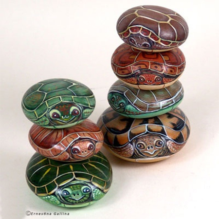 painted pebbles turtles river rock