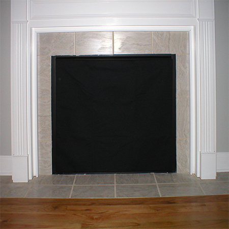make a fireplace cover with fabric to block draughts from chimney