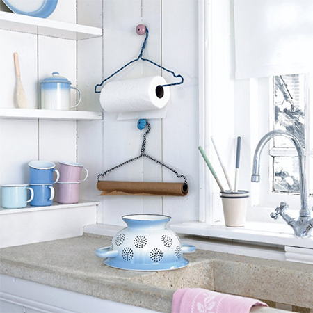 recycled coat hangers for kitchen organisation