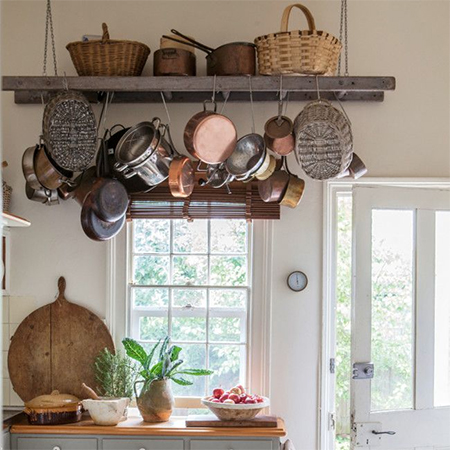 recycled step ladder as hanging rack for pots and pans