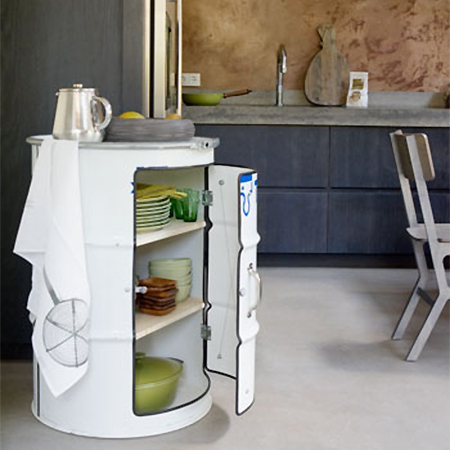 recycled steel olive oil drum for kitchen storage cabinet