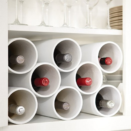 pvc pipes useful as a wine rack