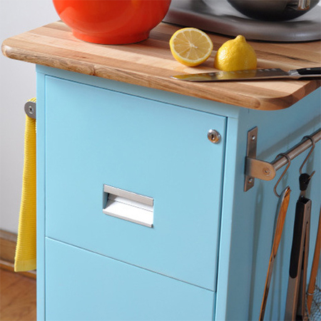 recycled steel filing cabinet becomes mobile kitchen island