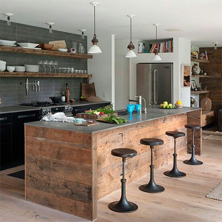 reclaimed wood with steel cladding on top for kitchen island