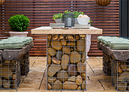 Home Dzine Garden Gabion Style Outdoor Table Set