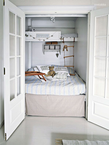 Home dzine bedrooms making room for beds in small spaces for Small room bunk beds