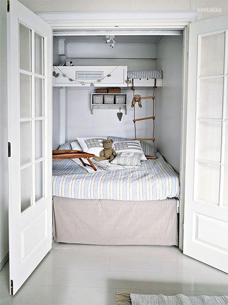 3 Children Bunk Beds In Small Bedroom In Closet