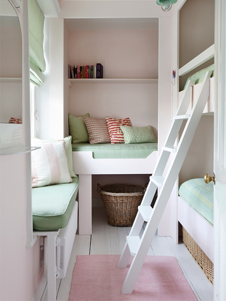 3 Children Bunk Beds In Small Bedroom In Tiny Shared Bedroom