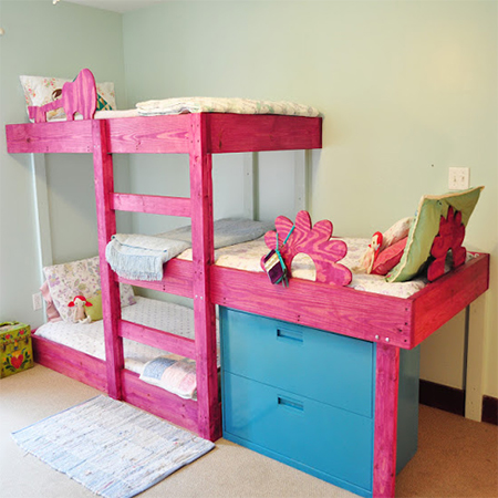 3 level bunk beds for 3 children