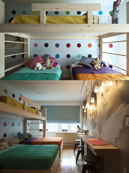 3 Children Bunk Beds In Small Bedroom