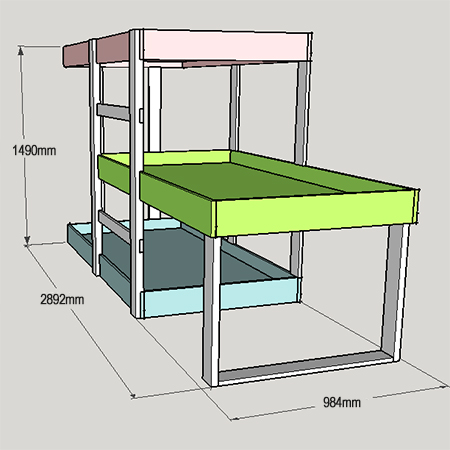 PROJECT PLANS - DIY 3-level bunk beds | Tools4Wood