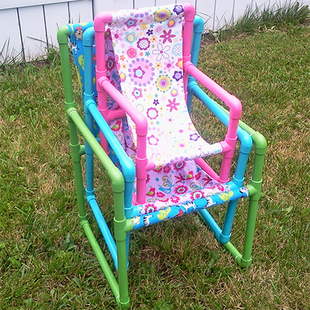instructions for making a small, medium or large PVC pipe kiddies chair.