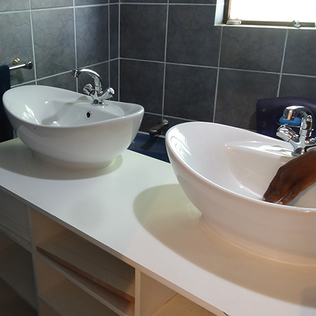 replace pedestal sink with double his and hers bathroom vanity basins